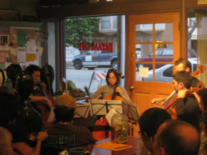 Cello Bazaar. Pictured: Jerry Liu, Erin Wang, Sam Bass, Samsun Van Loon. Photo by Hannah Addario-Berry.